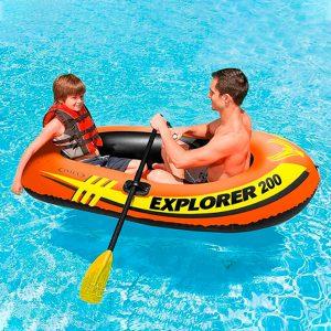 Bote inflable Explorer 200 Intex para 2 personas con remos de aluminio franceses y mini bomba de aire