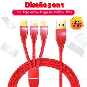 Cable de carga rápida 3 en 1 Micro USB V8, Tipo-C y iPhone nuevo todo en uno