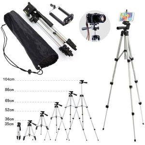 Trípode Portátil Universal para cámara y celular soporte extensible Clip de aluminio para temporizador automático